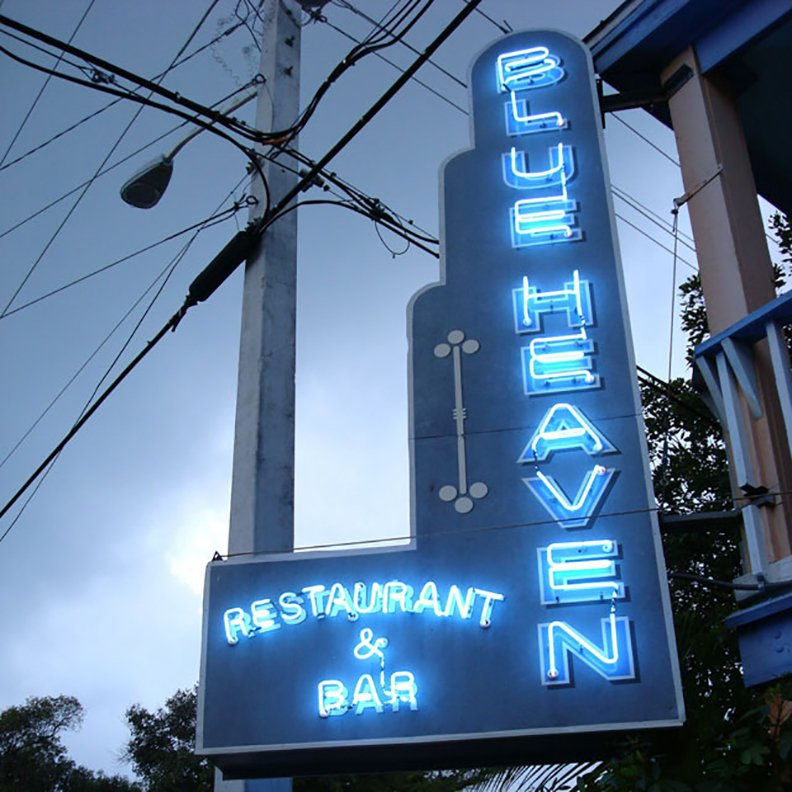 neon-sign-night-Blue Heaven Restaurant Key West Florida