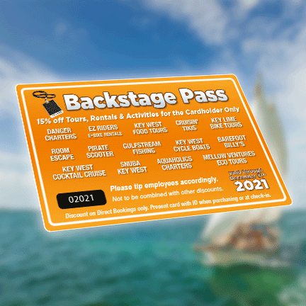 2021 Backstage Pass things to do key west Florida discount card